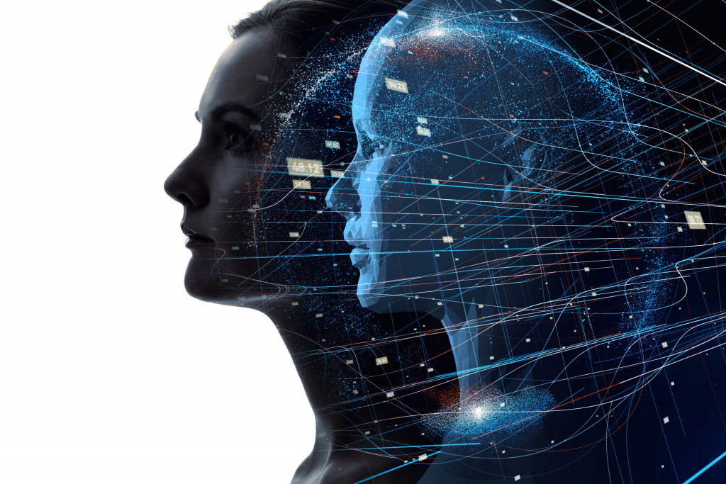 woman with ai graphic